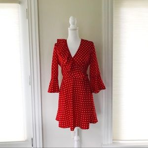 Red and White Faux Wrap Polka Dot Dress